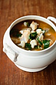 Curry fish soup with cauliflower