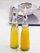 Two bottles of lemon vinegar