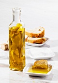 Lemon oil and white bread