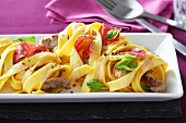 Tagliatelle with chorizo and beef