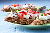 Slices of pumpkin seed bread topped with tomato and radish quark