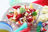 Sweet pasta with strawberries and white chocolate for children