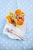 Shrimp salad with mandarins