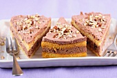 Three slices of nut cake