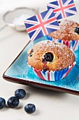 Blueberry muffins decorated with Union Jacks