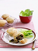 Beef pies with cos lettuce