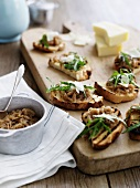 Bruschetta with onion chutney, rocket and Parmesan