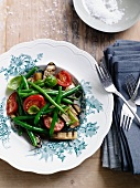 Aubergine salad with tomatoes and green beans