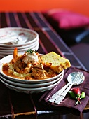 Fish stew with mashed potatoes and cornbread (Mexico)
