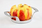 An apple on an apple slicer