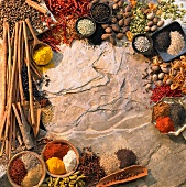 An arrangement of spices forming a frame