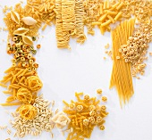 Various types of pasta forming a frame