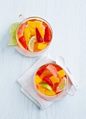 Fruit punch with strawberries and mango (seen from above)