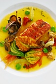 Stuffed red mullet in a caper and lime broth with courgette flowers