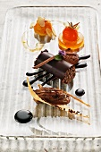 Chocolate variations with tomato jelly