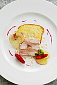 Chicken and goose liver terrine with hibiscus apples