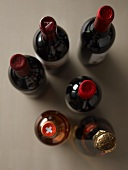 Various wine bottles seen from above