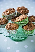 Apple Raisin Muffins on a Green Pedestal Dish