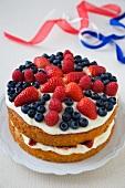 Layered British Flag Cake