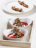 Veal liver kebabs with sage and cherry quark