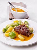 Beef roulade with Brussels sprouts and potatoes