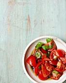 Insalata di pomodoro (tomato salad with basil and balsamic vinegar)