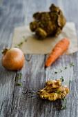Soup vegetables (onion, celeriac, carrots, ginger)