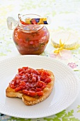 Toast topped with cherry and tomato chutney (Dominican Republic)