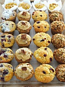 Rows of various muffins