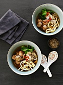 Noodle soup with pork meatballs and mushrooms (Asia)