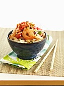 Fried king prawns with bean sprouts (Asia)