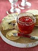 Pepper jelly, blue cheese and crackers