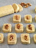 Unbaked walnut shortbreads