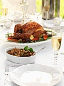 A Christmas turkey with side dishes