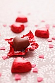 Chocolate pralines and sugar hearts