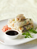 Rice paper rolls with ginger and soy sauce (Asia)