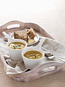 Sweet potato soup with smoked fish
