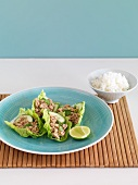 Spicy minced pork in lettuce leaves with rice (Thailand)