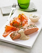 Pickled salmon with a honey-mustard sauce
