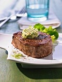 Beef loin steak with herb and garlic butter