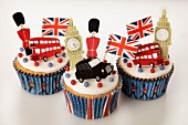 Cupcakes decorated with London icons