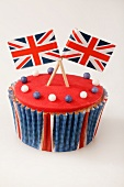 A cupcake decorated with Union Jacks