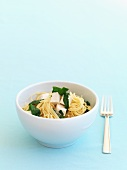 Spaghetti with baby spinach and tofu