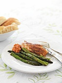 Chicken breast with asparagus and romesco sauce