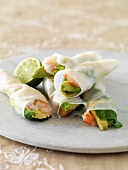 Rice paper rolls with avocado, limes and king prawns