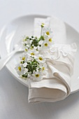 Place setting with primula flowers