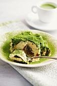 Tiramisu with matcha tea powder