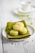 Lime macaroons and heart-shaped lemon macaroons
