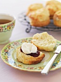 Buttermilk scones with jam and clotted cream