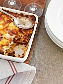 Beef lasagne in a baking dish